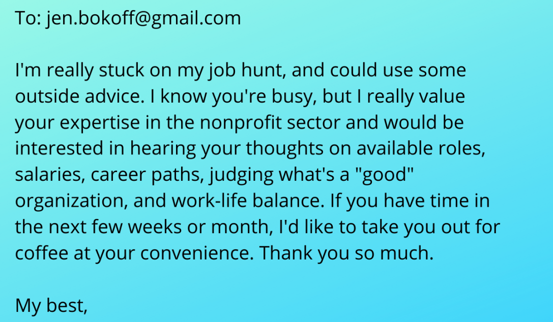 Text from an email asking for job hunt advice