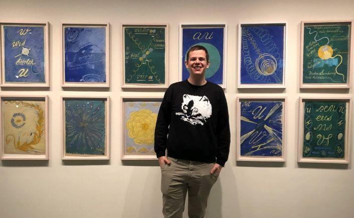 Accountability buddy Sam Hansen at Hilma af Klint exhibit
